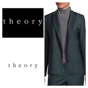Theory Wool Blazer in Dark Slate Size 10